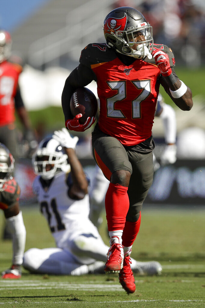 Tampa Bay Buccaneers wide receiver Mike Evans plays against the Los Angeles Rams during the first of an NFL football game Sunday, Sept. 29, 2019, in Los Angeles. (AP Photo/Marcio Jose Sanchez)