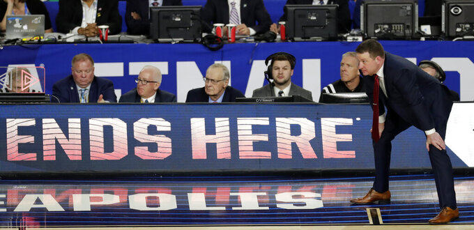 Texas Tech head coach Chris Beard watches during the second half in the championship of the Final Four NCAA college basketball tournament against Virginia, Monday, April 8, 2019, in Minneapolis. (AP Photo/Matt York)