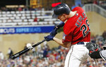 Minnesota Twins' Max Kepler hits a two-run single to right field off Chicago White Sox pitcher Jace Fry during the fifth inning of a baseball game Friday, May 24, 2019, in Minneapolis. (AP Photo/Jim Mone)