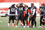 Cleveland Browns defensive tackle Larry Ogunjobi (65), outside linebacker Olivier Vernon (54) and defensive end Myles Garrett (95) watch from the sidelines during practice at the NFL football team's training facility Monday, Aug. 5, 2019, in Berea, Ohio. (AP Photo/Ron Schwane)