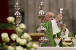 Pope Francis celebrates a Mass in St. Peter Basilica at the Vatican, Sunday, Nov. 17, 2019. Pope Francis is offering several hundred poor people, homeless, migrants, unemployed a lunch on Sunday as he celebrates the World Day of the Poor with a concrete gesture of charity in the spirit of his namesake, St. Francis of Assisi, Sunday, Nov. 17, 2019. (AP Photo/Alessandra Tarantino)