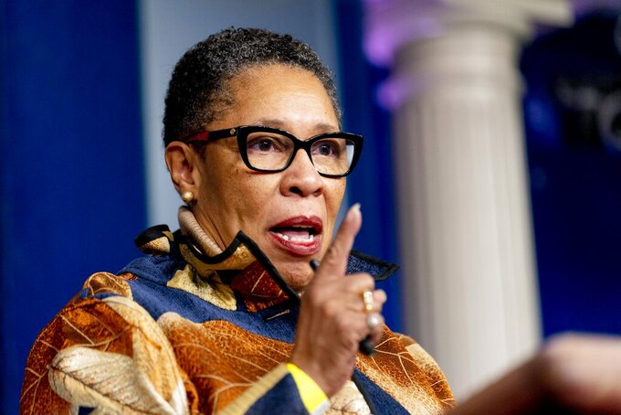 Housing and Urban Development Secretary Marcia Fudge speaks at a press briefing at the White House, Thursday, March 18, 2021, in Washington. (AP Photo/Andrew Harnik)