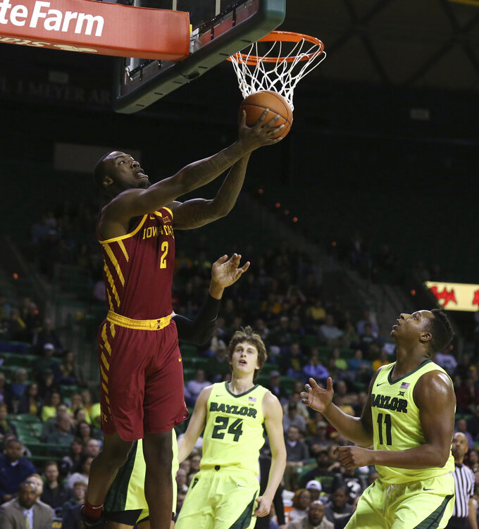 Iowa State forward Cameron Lard (2) attempts a basket over Baylor guard Mark Vital (11) during the first half of an NCAA college basketball game Tuesday, Jan. 8, 2019, in Waco, Texas. (AP Photo/Rod Aydelotte)