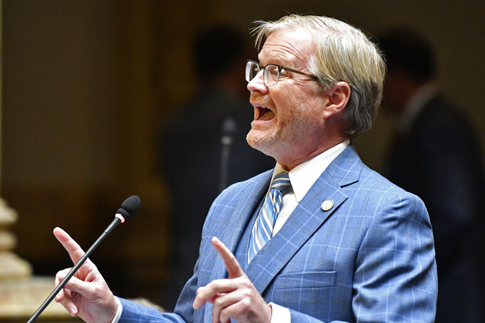 Kentucky Sen. Damon Thayer addresses the his fellow Senate members during the opening day of the Kentucky State Legislature special session in Frankfort, Ky., Tuesday, Sept. 7, 2021. (AP Photo/Timothy D. Easley)