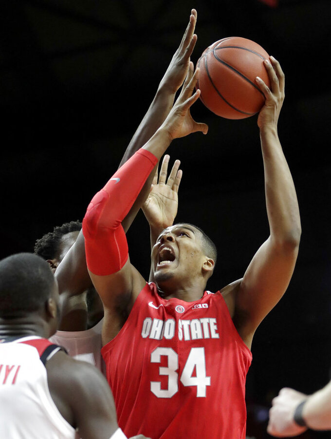 Ohio State forward Kaleb Wesson (34) goes up for a shot against Rutgers during the first half of an NCAA college basketball game, Wednesday, Jan. 9, 2019, in Piscataway, N.J. (AP Photo/Julio Cortez)