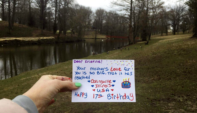 This photo provided by Mona Helgeland in Ålgård, Norway, shows a birthday card made by an American member of the Facebook group