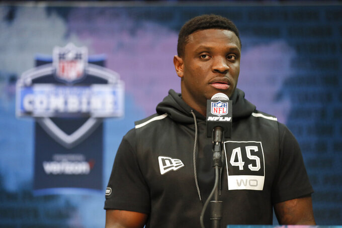 TCU wide receiver Jalen Reagor speaks during a press conference at the NFL football scouting combine in Indianapolis, Tuesday, Feb. 25, 2020. (AP Photo/Charlie Neibergall)