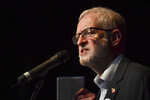 Britain's Labour Party leader Jeremy Corbyn speaks at the Library Theatre in Darwen, north west England, Thursday Nov. 7, 2019, while on the general election campaign trail. All 650 seats in the House of Commons are up for grabs in the Dec. 12 election, which is coming more than two years early. Some 46 million British voters are eligible to take part in the country's first December election in 96 years. (Jacob King/PA via AP)