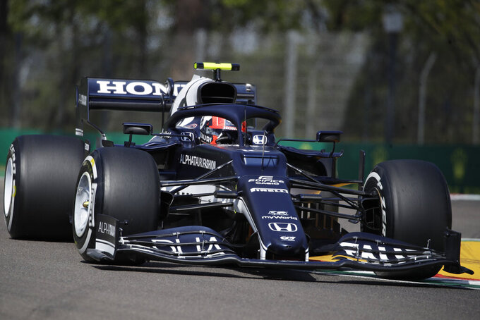 AlphaTauri driver Pierre Gasly of France steers his car during free practice for Sunday's Emilia Romagna Formula One Grand Prix, at the Imola track, Italy, Friday, April 16, 2021. (AP Photo/Luca Bruno)