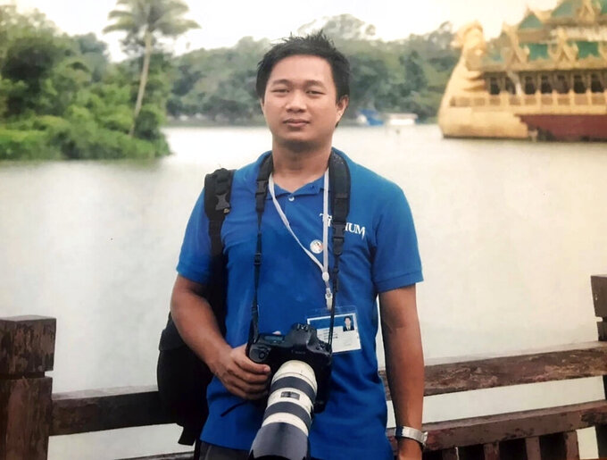 FILE - This undated family file photo shows Associated Press journalist Thein Zaw in Yangon, Myanmar. A court in Myanmar extended on Friday, March 12, 2021, the pretrial detention of an Associated Press journalist who was arrested while covering demonstrations against a coup. He is facing a charge that could send him to prison for three years. His next hearing will be on March 24.(Thein Zaw family via AP, File)