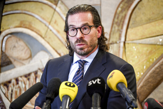 The Swedish lawyer for A$AP Rocky, Slobodan Jovicic comments on the verdict handed down to his client during a press conference in Uppsala, Sweden, Wednesday Aug. 14, 2019.  Swedish court on Wednesday found American rapper A$AP Rocky guilty of assault for his role in a June 30 street brawl in Stockholm. (Fredrik Sandberg / TT via AP)