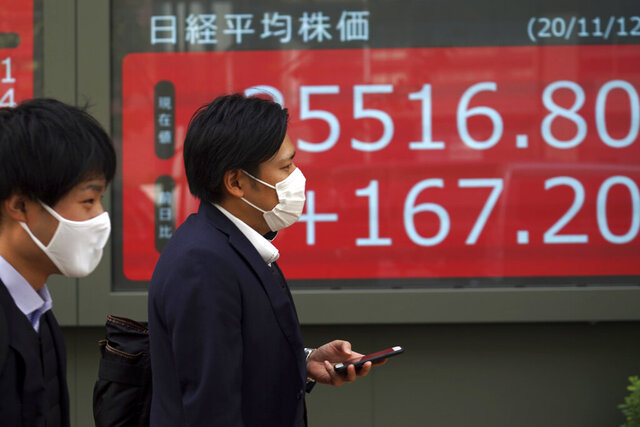 People walk past an electronic stock board showing Japan's Nikkei 225 index at a securities firm in Tokyo Thursday, Nov. 12, 2020. Stocks fell back across Asia on Thursday after gains for big technology shares pushed most Wall Street benchmarks higher. (AP Photo/Eugene Hoshiko)
