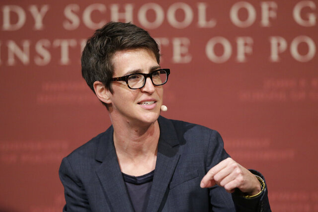 FILE - In this Oct. 16, 2017 file photo, MSNBC television anchor Rachel Maddow, host of