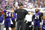 "FILE - In this Sept. 29, 2019, file photo, Baltimore Ravens head coach John Harbaugh reacts during the second half of an NFL football game against the Cleveland Browns, in Baltimore. The Browns beat the Ravens 40-25. ""John made a statement that rings in my head,"" guard Marshal Yanda said this week. ""'We're not a good football team right now. We're not.'"" Flash forward to last Sunday, when the Ravens completed the regular season with a 14-2 record by beating the Pittsburgh Steelers 28-10. (AP Photo/Nick Wass, FIle)"