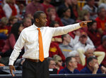 Oklahoma State coach Mike Boynton gestures to the team during the first half of an NCAA college basketball game against Iowa State, Saturday, Jan. 19, 2019, in Ames. (AP Photo/Matthew Putney)