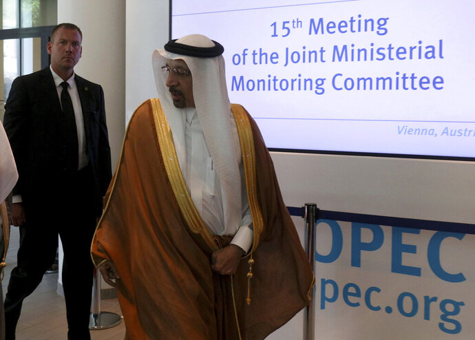 Khalid Al-Falih, Minister of Energy, Industry and Mineral Resources of Saudi Arabia arrives for a meeting of the Organization of the Petroleum Exporting Countries, OPEC, and non OPEC members at their headquarters in Vienna, Austria, Monday, July 1, 2019. (AP Photo/Ronald Zak)