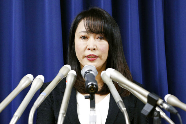 Japan's Minister of Justice Masako Mori speaks at a press conference on the execution of a convict Thursday, Dec. 26, 2019, in Tokyo. Japan on Thursday executed a Chinese death-row inmate convicted in the 2003 murder and robber of a family of four, including two children, as the country sticks to death penalty despite growing international move toward abolishing the system. (Kyodo News via AP)