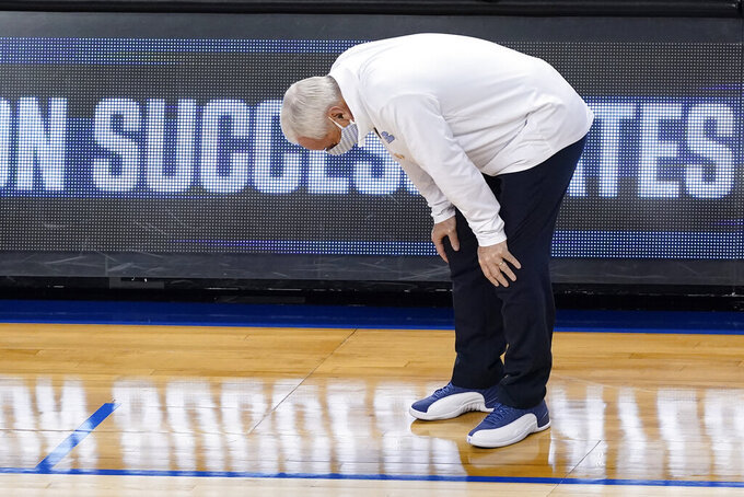 North Carolina head coach Roy Williams reacts to a play during the first half of an NCAA college basketball game against Florida State in the semifinal round of the Atlantic Coast Conference tournament in Greensboro, N.C., Friday, March 12, 2021. (AP Photo/Gerry Broome)