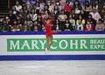 Kazakhstan's Elizabet Tursynbaeva performs her ladies free skating during the ISU World Figure Skating Championships at Saitama Super Arena in Saitama, north of Tokyo, Friday, March 22, 2019. (AP Photo/Andy Wong)
