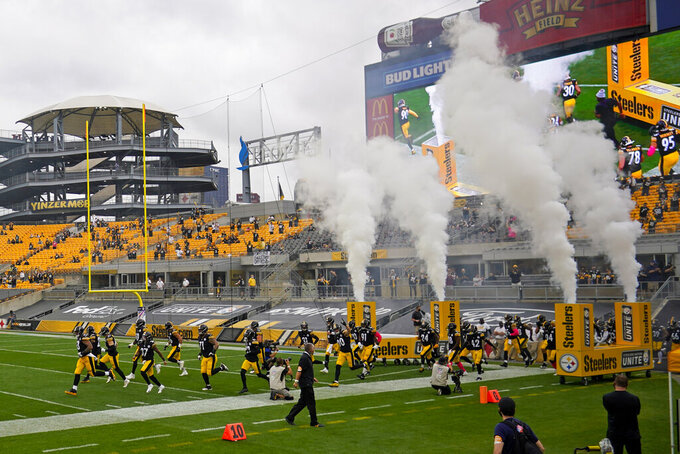 The Pittsburgh Steelers take the field for an NFL football game against the Philadelphia Eagles at Heinz Field in Pittsburgh, Sunday, Oct. 11, 2020, in Pittsburgh. (AP Photo/Keith Srakocic)