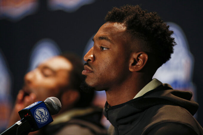 Wake Forest player Andrien White listens to a question during the Atlantic Coast Conference NCAA college basketball media day in Charlotte, N.C., Tuesday, Oct. 8, 2019. (AP Photo/Nell Redmond)