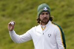 Team Europe's Tommy Fleetwood reacts on the sixth hole during a practice day at the Ryder Cup at the Whistling Straits Golf Course Wednesday, Sept. 22, 2021, in Sheboygan, Wis. (AP Photo/Jeff Roberson)