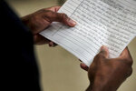 A juvenile being housed at Jail East rehearses a speech he has composed while working with educators from the Tennessee Shakespeare Company on Aug. 14, 2019 in Memphis. The Tennessee Shakespeare Company has recently received a grant to work with juveniles in Shelby County Juvenile Court.(Jim Weber/Daily Memphian via AP)