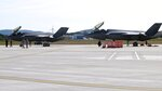 The first two F-35 fighter jets sit on the tarmac, Thursday, Sept. 19, 2019, after arriving at the Vermont Air National Guard base in South Burlington, Vt.  The first two of what will become 20 F-35 fighter aircrafts arrived Thursday at The Vermont Air National Guard, the first guard unit to receive the next-generation fighter. (AP Photo/Wilson Ring)