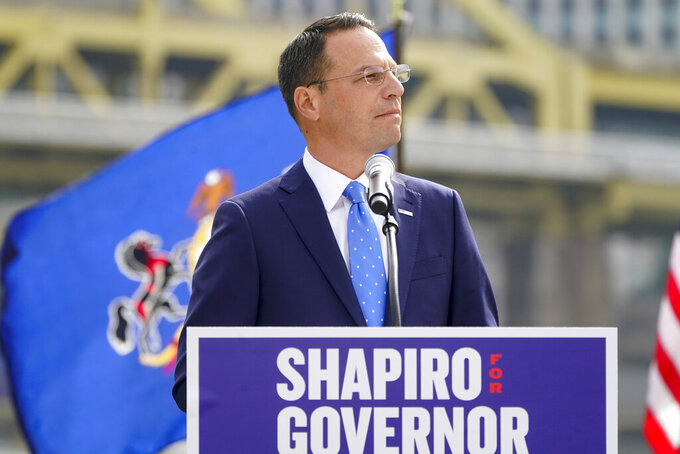 Pennsylvania's Democratic attorney general Josh Shapiro speaks to a crowd during his campaign launch address for Pennsylvania governor, Wednesday, Oct. 13, 2021, in Pittsburgh. (AP Photo/Keith Srakocic)