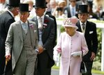 FILE -  In this Wednesday, June 15, 2016 file photo, Britain's Queen Elizabeth II, Prince Philip, right, and Prince Charles, left, arrive for the second day of the Royal Ascot horse race meeting, in Ascot, England. Queen Elizabeth II will not be attending the Royal Ascot horse racing meeting for the first time during her 68-year reign. The meeting, which commences Tuesday, June 16, 2020 is one of the country's most high-profile horse racing meetings and one that effectively launches a great British summer of sport that also includes Wimbledon tennis and golf's Open Championship. (AP Photo/Alastair Grant, File)