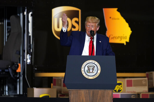 President Donald speaks during an event on American infrastructure at UPS Hapeville Airport Hub, Wednesday, July 15, 2020, in Atlanta. (AP Photo/Evan Vucci)