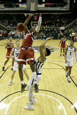 Stanford guard Bryce Wills (2) puts up a shot during the first half of an NCAA college basketball game against Butler Tuesday, Nov. 26, 2019, in Kansas City, Mo. (AP Photo/Charlie Riedel)