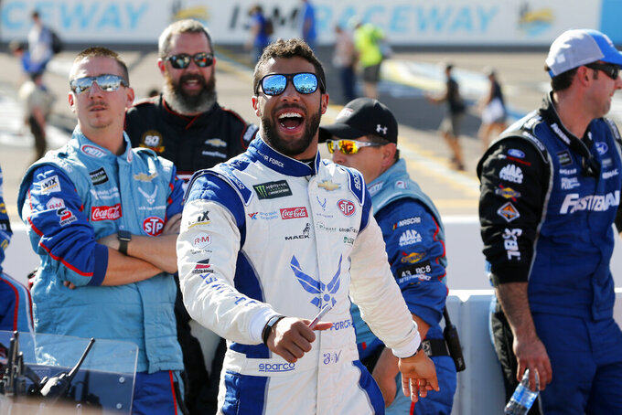 Bubba Wallace prior to the NASCAR Cup Series auto race at ISM Raceway, Sunday, Nov. 10, 2019, in Avondale, Ariz. (AP Photo/Ralph Freso)
