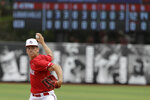 Louisville's Bobby Miller throws during the ninth inning in Game 2 of an NCAA college baseball super regional tournament against East Carolina, Saturday, June 8, 2019, in Louisville, Ky. Louisville won 12-0. (AP Photo/Darron Cummings)