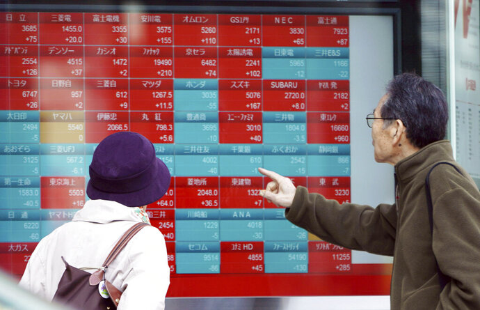 A man and a woman look at an electronic stock board showing Japan's Nikkei 225 index at a securities firm in Tokyo Friday, March 22, 2019. Asian markets were mostly lower on Friday as investors mulled over the possibility of a trade deal between the U.S. and China in the near future, ahead of the continuation of talks in Beijing next week. (AP Photo/Eugene Hoshiko)