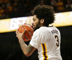 Minnesota forward Jordan Murphy (3) puts down a rebound against Rutgers during the second half of an NCAA college basketball game Saturday, Jan. 12, 2019, in Minneapolis. Minnesota defeated Rutgers 88-70. (AP Photo/Andy Clayton-King)