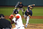 Atlanta Braves starting pitcher Ian Anderson throws to a Boston Red Sox batter during the sixth inning of a baseball game Tuesday, Sept. 1, 2020, in Boston. (AP Photo/Mary Schwalm)