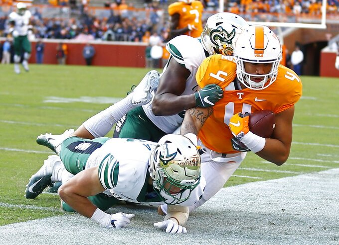 Tennessee tight end Dominick Wood-Anderson (4) is knocked out of bounds by Charlotte defensive back Ben DeLuca (28) and a teammate in the first half of an NCAA college football game Saturday, Nov. 3, 2018, in Knoxville, Tenn. (AP Photo/Wade Payne)