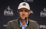 Jordan Spieth answers questions during a news conference before a practice round for the PGA Championship golf tournament, Wednesday, May 15, 2019, at Bethpage Black in Farmingdale, N.Y. (AP Photo/Seth Wenig)