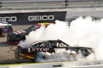 Jeremy Clements (51) spins out in the front stretch during the NASCAR Xfinity auto race in Richmond, Va., Saturday, Sept. 11, 2021. (AP Photo/Steve Helber)