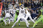 Los Angeles Rams quarterback Jared Goff throws a pass against the Seattle Seahawks during the first half of an NFL football game Thursday, Oct. 3, 2019, in Seattle. (AP Photo/Elaine Thompson)