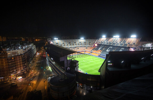 General view of Mestalla stadium during the Champions League round of 16 second leg soccer match between Valencia and Atalanta in Valencia, Spain, March 10, 2020. (AP Photo/Emilio Morenatti)