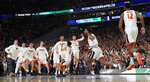 Virginia players celebrates after defeating Texas Tech 85-77 in the overtime in the championship of the Final Four NCAA college basketball tournament, Monday, April 8, 2019, in Minneapolis. (AP Photo/David J. Phillip)