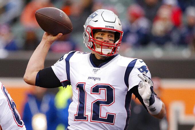 New England Patriots quarterback Tom Brady passes in the second half of an NFL football game against the Cincinnati Bengals, Sunday, Dec. 15, 2019, in Cincinnati. (AP Photo/Gary Landers)