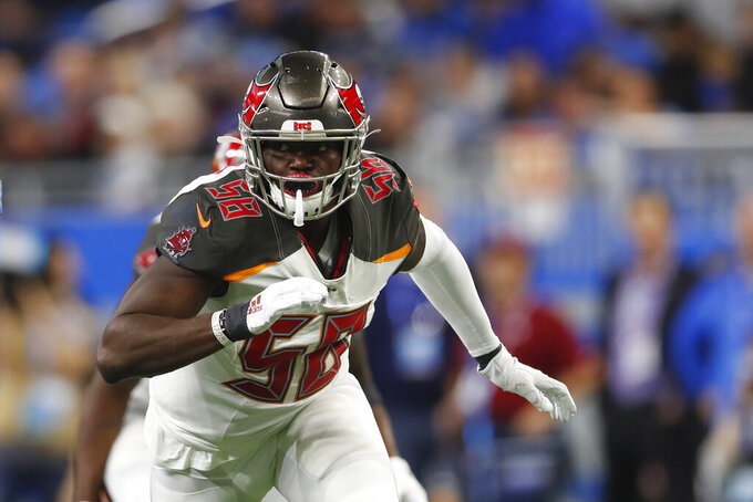 FILE - In this Dec. 15, 2019, file photo, Tampa Bay Buccaneers linebacker Shaquil Barrett is shown in action during the first half of an NFL football game against the Detroit Lions, in Detroit. (AP Photo/Paul Sancya, File)