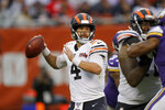 Chicago Bears quarterback Chase Daniel throws during the second half of an NFL football game against the Minnesota Vikings Sunday, Sept. 29, 2019, in Chicago. (AP Photo/Charles Rex Arbogast)