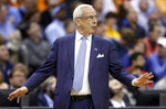 North Carolina head coach Roy Williams reacts in the first half against Washington during a second round men's college basketball game in the NCAA Tournament in Columbus, Ohio, Sunday, March 24, 2019. (AP Photo/John Minchillo)