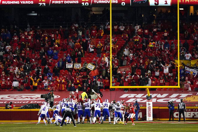 Buffalo Bills place kicker Tyler Bass (2) kicks a 20-yard field goal during the first half of the AFC championship NFL football game against the Kansas City Chiefs, Sunday, Jan. 24, 2021, in Kansas City, Mo. (AP Photo/Jeff Roberson)