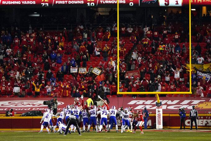 Buffalo Bills place kicker Tyler Bass (2) kicks a 20-yard field goal during the first half of the AFC championship NFL football game against the Kansas City Chiefs, Sunday, Jan. 24, 2021, in Kansas City, Mo. (AP Photo/Jeff Roberson)