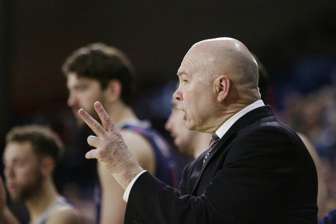 Saint Mary's coach Randy Bennett directs his team during the second half of an NCAA college basketball game against Gonzaga in Spokane, Wash., Saturday, Feb. 9, 2019. Gonzaga won 94-46. (AP Photo/Young Kwak)